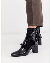 Stradivarius Patent Heeled Boots - Black
