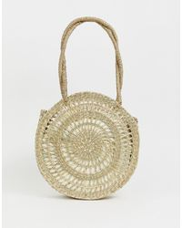 ASOS Circle Straw Shopper Bag With Pouch - Brown