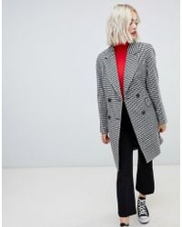 New Look - Tailored Coat In Hounds Tooth - Lyst