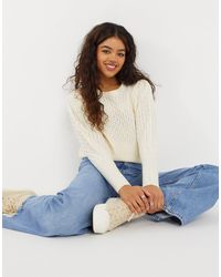 Blend She exaggerated Sleeve Knit Sweater - White