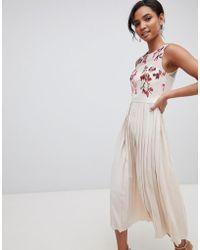Little Mistress - Embroidered Top Midi Pleated Dress In Cream Multi - Lyst