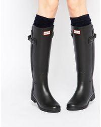 HUNTER Stivali da pioggia neri con cinturino posteriore - Nero