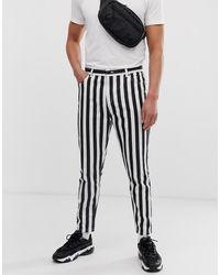 Bershka Striped Carrot Fit Jeans - Black