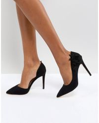 Call It Spring Floral Cutout Court Shoes - Black