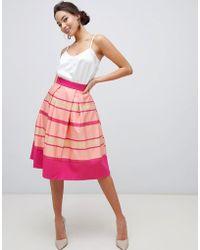 Closet Closet Striped Hem Pleated Skirt - Pink