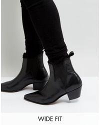 ASOS Wide Fit Cuban Heel Western Boots - Black