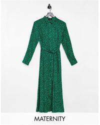 New Look - Vestito camicia al polpaccio a maniche lunghe con stampa verde animalier - Lyst