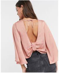 ASOS Satin Kimono Sleeve Top With Knot Back Detail - Multicolour