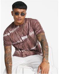 Mennace T-shirt oversize à effet tie-dye - Marron