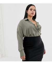 Missguided - Exclusive Plus Pocket Detail Shirt In Khaki - Lyst