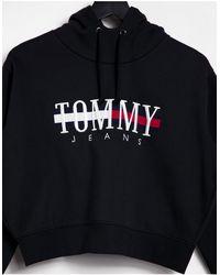 Tommy Hilfiger Relaxed Crop Logo Hoodie - Black