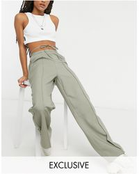Collusion Straight Leg Trousers With Tie Waist Detail - Grey