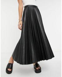 Mango Pleated Faux Leather Midi Skirt - Black