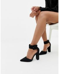 Glamorous - Buckle Block Heeled Court Shoes In Black - Lyst