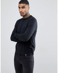 Pretty Green - Hinchcliffe Crew Neck Knit Jumper In Black - Lyst