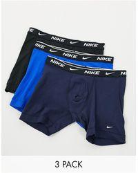 Nike Набор Из 3 Хлопковых Эластичных Боксеров-брифов Черного/темно-синего/синего Цвета -мульти - Синий
