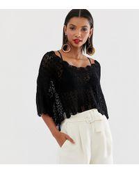 Mango Crochet Knitted Top In Black