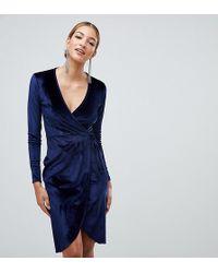 Boohoo Fluwelen Midi-jurk Met Strikband In De Taille In Marineblauw - Zwart