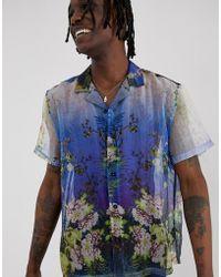 ASOS Regular-fit Overhemd Van Doorzichtige Organza Met Bloemenprint - Blauw