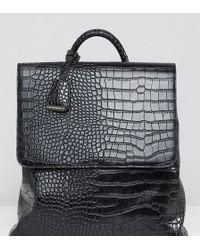 Glamorous - Faux Croc Backpack In Black - Lyst