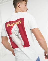 Jack & Jones Originals – Weihnachtliches T-Shirt mit Playboy-Print - Weiß