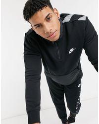 Nike – Hybrid – Sweatshirt mit kurzem Reißverschluss - Schwarz