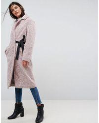 ASOS - Longline Faux Fur Coat With Side Belt Detail - Lyst