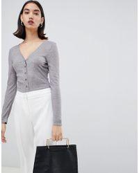 UNIQUE21 Unique 21 Long Sleeve Button Front Bodysuit - Gray