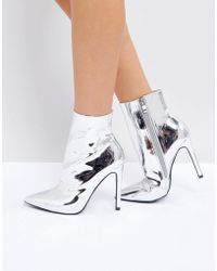 Public Desire - Harlee High Shine Silver Heeled Ankle Boots - Lyst