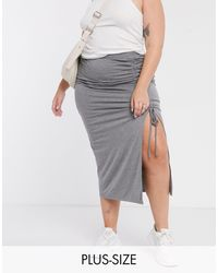 Simply Be Ruched Split Maxi Skirt - Grey