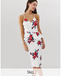 Chi Chi London Midi Peplum Dress With Floral Embroidery - Multicolour
