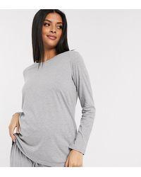 ASOS ASOS DESIGN Maternity – Langärmliges Mix & Match Pyjama-Shirt aus Jersey - Grau