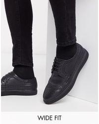 ASOS Wide Fit Creeper Brogue Shoes - Black
