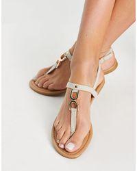 New Look Hoop Detail Flat Sandal - Natural