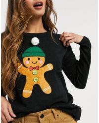 Brave Soul Gingerbread Christmas Sweater - Black