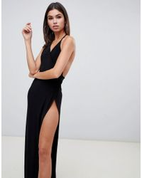 Club L London Vestido largo y negro de tirantes con abertura alta en el muslo de