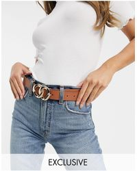 Glamorous Belt With Double Molten Circle Buckle - Blue