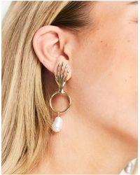 Monki Drew - Créoles à pendant perle suspendue - Métallisé