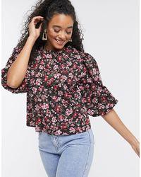 New Look Поплиновая Блузка С Цветочным Принтом Красного Цвета -черный
