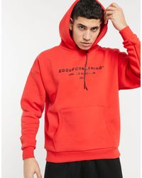 Good For Nothing Oversized Hoodie With Branded Logo Prints - Red