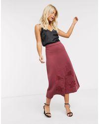 ASOS Embroidered Full Scuba Midi Skirt