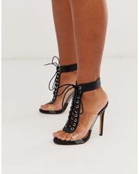 London Rebel Clear Strap Lace Up Heeled Sandals - Black