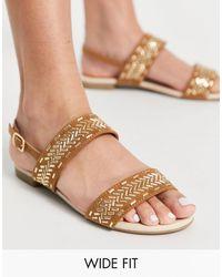 Miss Kg Wide Fit Detroit Gold Detail Flat Sandals - Multicolour