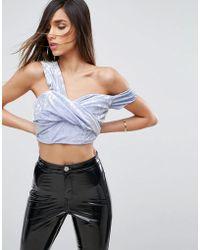 ASOS - Velvet Crop Top With One Shoulder - Lyst
