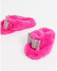 Public Desire Bunnie Diamante Slippers - Pink