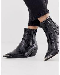 Stradivarius Moc Croc Western Heeled Boots - Black