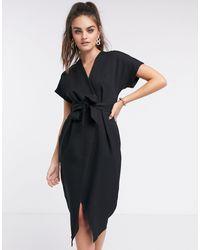 Closet Черное Платье Миди С Запахом И Завязкой -черный