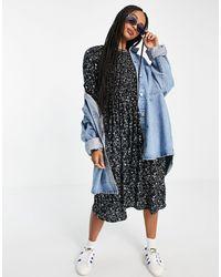 Object Jalke Printed Midi Smock Dress - Black