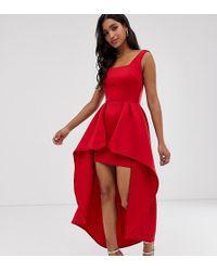 True Violet Hi-low Maxi Prom Dress - Red