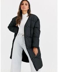 ASOS Collarless Padded Coat - Black